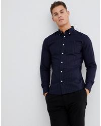 Chemise à manches longues à rayures verticales bleu marine Selected Homme