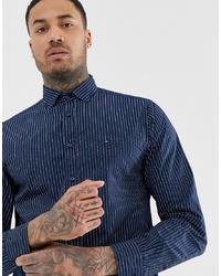 Chemise à manches longues à rayures verticales bleu marine Tommy Hilfiger
