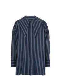 Chemise à manches longues à rayures verticales bleu marine Wooyoungmi