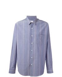 Chemise à manches longues à rayures verticales bleue claire AMI Alexandre Mattiussi