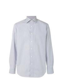 Chemise à manches longues à rayures verticales bleue claire Canali
