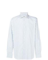 Chemise à manches longues à rayures verticales bleue claire Corneliani