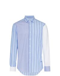 Chemise à manches longues à rayures verticales bleue claire JW Anderson
