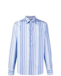Chemise à manches longues à rayures verticales bleue claire Marni