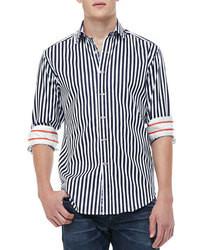 Chemise à manches longues à rayures verticales bleue marine et blanche