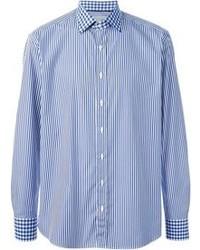 Chemise à manches longues à rayures verticales bleue