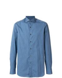 Chemise à manches longues à rayures verticales bleue Boglioli