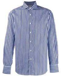 Chemise à manches longues à rayures verticales bleue Brunello Cucinelli