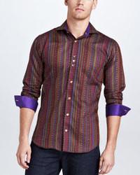 Chemise à manches longues à rayures verticales bordeaux
