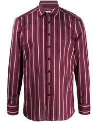 Chemise à manches longues à rayures verticales bordeaux Etro