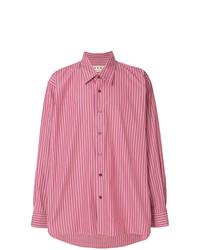 Chemise à manches longues à rayures verticales fuchsia Marni