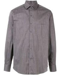Chemise à manches longues à rayures verticales gris foncé Loro Piana