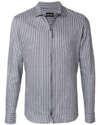 Chemise à manches longues à rayures verticales grise Giorgio Armani