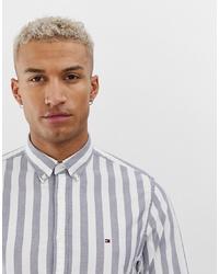 Chemise à manches longues à rayures verticales grise Tommy Hilfiger
