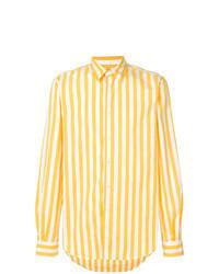 Chemise à manches longues à rayures verticales jaune