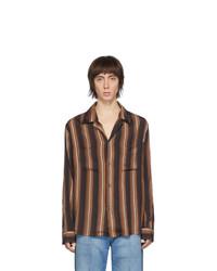 Chemise à manches longues à rayures verticales marron