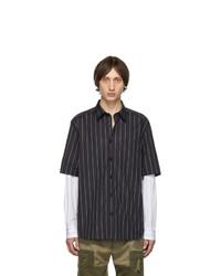 Chemise à manches longues à rayures verticales noire et blanche Diesel