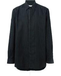 Chemise à manches longues à rayures verticales noire