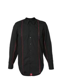 Chemise à manches longues à rayures verticales noire Yang Li