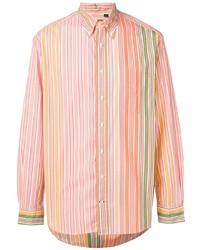 Chemise à manches longues à rayures verticales orange Gitman Vintage