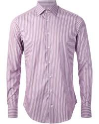Chemise à manches longues à rayures verticales pourpre