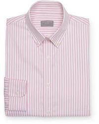 Chemise à manches longues à rayures verticales rose