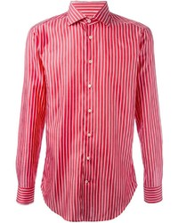 Chemise à manches longues à rayures verticales rouge
