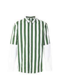 Chemise à manches longues à rayures verticales vert foncé