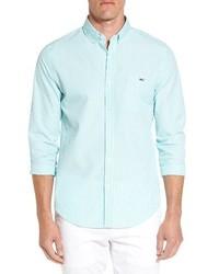 Chemise à manches longues à rayures verticales vert menthe