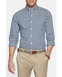 Chemise à manches longues blanc et bleu marine