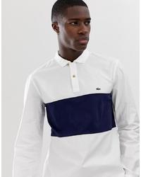 Chemise à manches longues blanc et bleu marine Lacoste