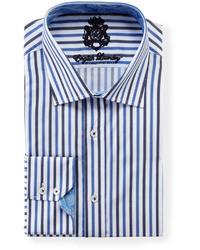 Chemise à manches longues blanc et bleu