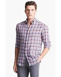 Chemise à manches longues blanc et rouge et bleu marine