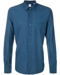 Chemise à manches longues bleu canard Aspesi
