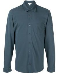Chemise à manches longues bleu canard Sunspel