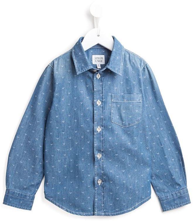 Chemise à manches longues bleu clair Armani Junior