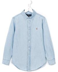 Chemise à manches longues bleu clair Ralph Lauren
