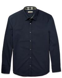 Chemise à manches longues bleu marine Burberry