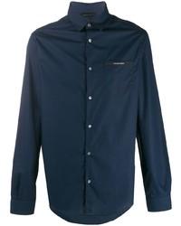 Chemise à manches longues bleu marine Emporio Armani