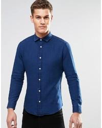 Chemise à manches longues bleu marine Esprit