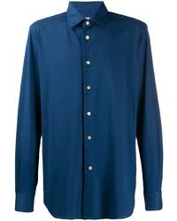 Chemise à manches longues bleu marine Kiton