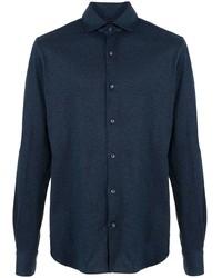 Chemise à manches longues bleu marine Loro Piana