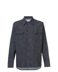 Chemise à manches longues bleu marine Maison Margiela