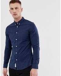 Chemise à manches longues bleu marine Pier One