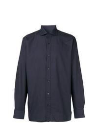 Chemise à manches longues bleu marine Z Zegna