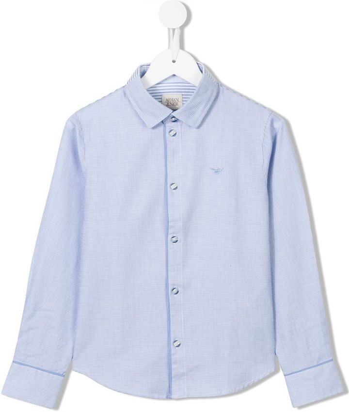Chemise à manches longues bleue claire Armani Junior