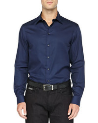 Chemise à manches longues bleue marine