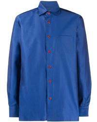 Chemise à manches longues bleue Kiton