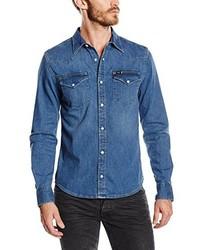 Chemise à manches longues bleue Lee