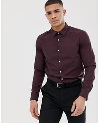 Chemise à manches longues bordeaux Pier One